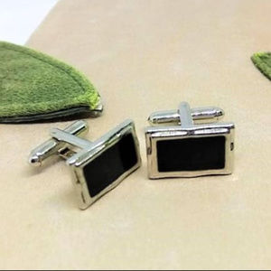Other - Stainless Steel Framed Black Rectangular Cuff Link